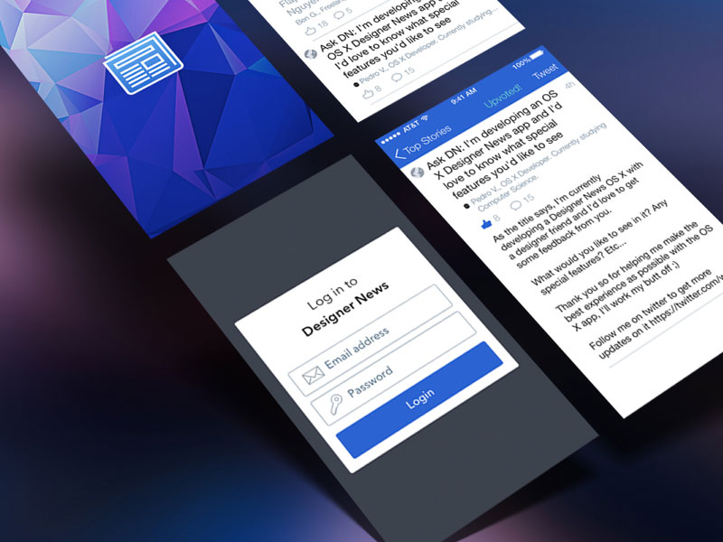 Designer News app prototype from the course Design + Code