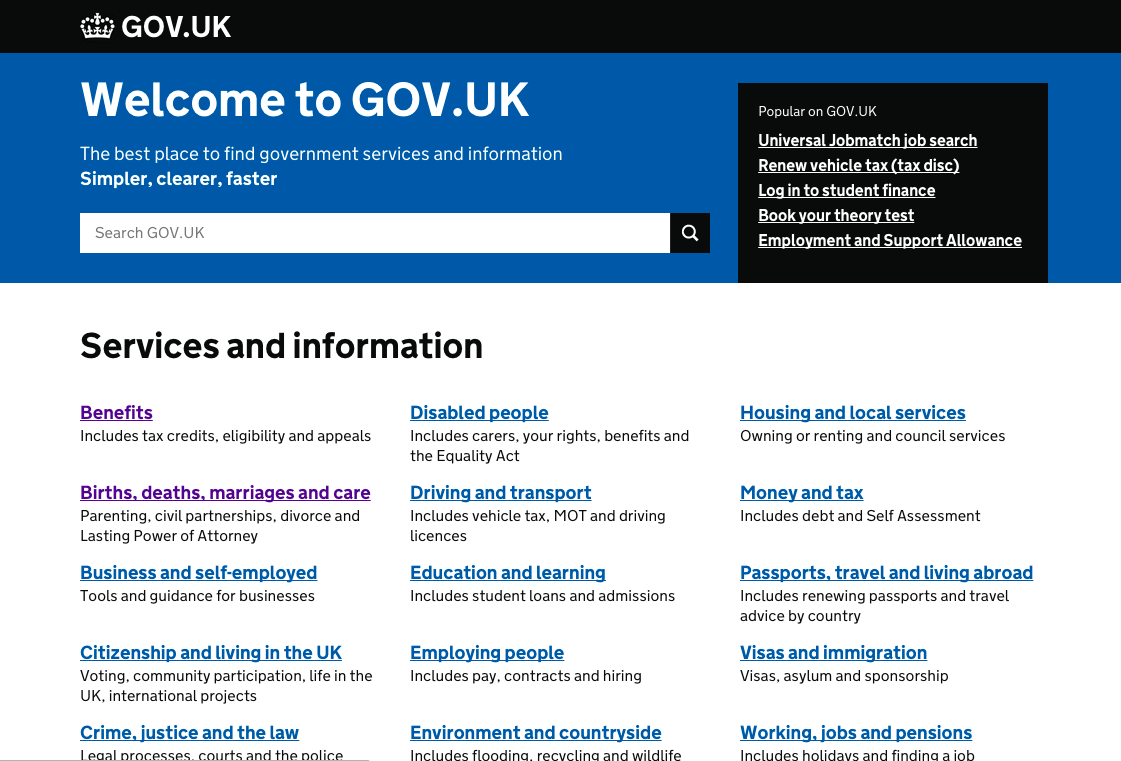 Gov.uk homepage color values