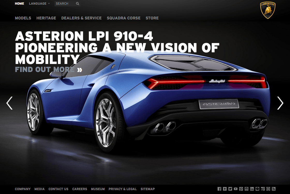 Lamborghini website luxurious colors