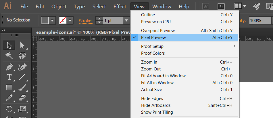 Adobe Illustrator Pixel Preview Mode